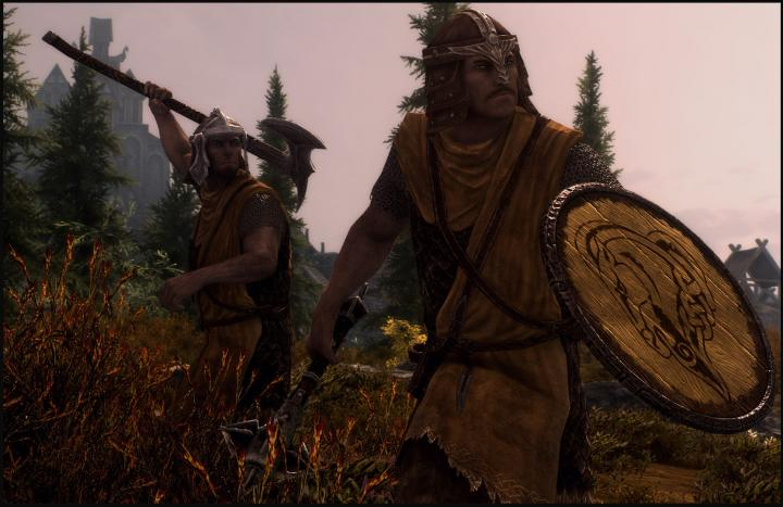 Two Hold Guards from Skyrim readying their weapons to attack you!